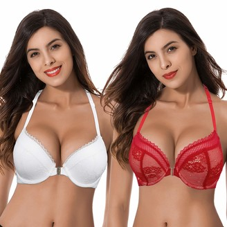 Curve Muse Women's Plus Size Add 1 Cup Push Up Underwire Halter Front Close Bras-2PK-RED WHITE-32DDD (EU:70F)
