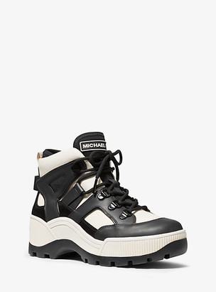 MICHAEL Michael Kors MK Brooke Leather and Canvas Boot - Ecru/black - Michael Kors