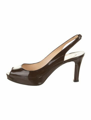 Christian Louboutin Patent Leather Peep-Toe Slingback Pumps Brown