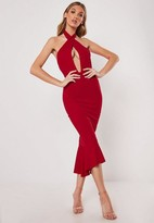 Missguided Red Cross Front Halter Fishtail Midi Dress