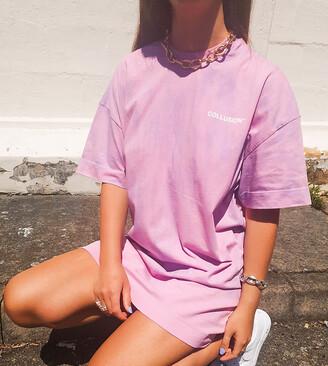 Collusion pastel tie dye short sleeve mini t shirt dress