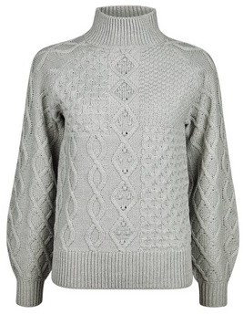 Dorothy Perkins Womens Grey High Neck Cable Jumper, Grey