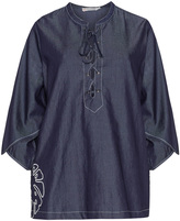 Gozzip Plus Size Embroidered oversized denim blouse