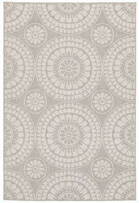 "Red Barrel Studioâ® Amaris Floral Gray/Ivory Indoor/Outdoor Area Rug Red Barrel StudioA Rug Size: Runner 1'10"" x 7'3"""