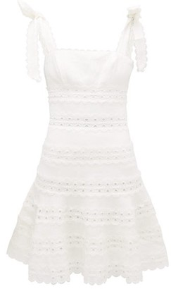 Zimmermann Kirra Tie-shoulder Linen Mini Dress - Womens - Ivory