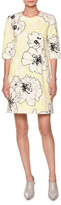 Marni Floral-Print Half-Sleeve Shift Dress, Light Yellow