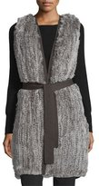Halston Fur-Front Sweater Vest W/Belt, Stone Gray