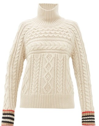 Burberry Cable-knit Cashmere Sweater - Womens - Ivory