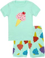 BOOPH Girls Pajamas 2 Picese Ice Cream Short Pajama Set 100% Cotton Sleepwear 2-7T
