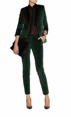 Leader Of The Beauty Women's Slim Fit Green Velvet 2 Pieces Business Suit Lady Office Suit Wedding Formal Suit XXL