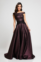 Terani Couture 1723E4265 Glossy Shine Off Shoulder Evening Gown