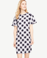 Ann Taylor Tall Gingham Ruffle Sleeve Shift Dress