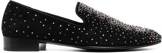 Giuseppe Zanotti Crystal-Embellished Leather Loafers