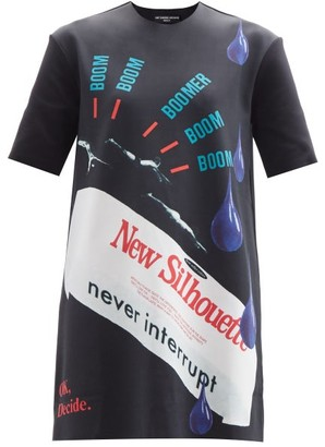 Raf Simons Ss14 Printed Neoprene Longline T-shirt - Black