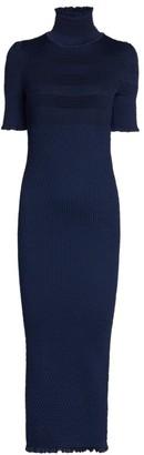 Fendi Smocked Silk Crepe Turtleneck Dress