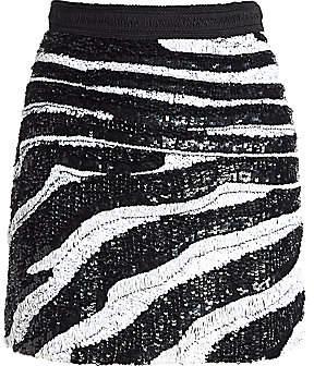 Amen Women's Zebra Sequin Mini Skirt
