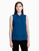 Calvin Klein Button-Down Tiered Sleeveless Top
