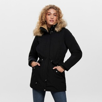 Only Long Faux Fur Hooded Parka with Pockets