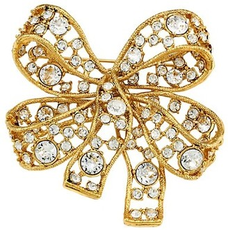 Kenneth Jay Lane 22K Antique Goldplated & Crystal Bow Brooch