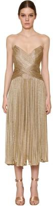 Maria Lucia Hohan Pleated Metallic Mesh Midi Dress