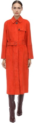 Salvatore Ferragamo Belted Suede Trench Coat