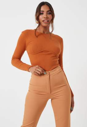 Missguided Rust Rib Corset Crew Neck Long Sleeve Top