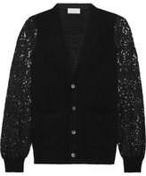 Clu Guipure Lace-Paneled Knitted Cardigan