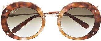 Salvatore Ferragamo Rounded Tortoise-Shell Sunglasses