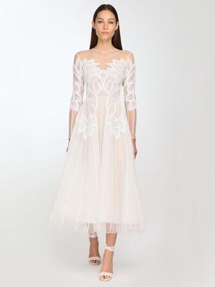 ZUHAIR MURAD Embellished Tulle Midi Dress
