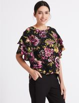 Marks and Spencer Floral Print Ruffle Sleeve Shell Top