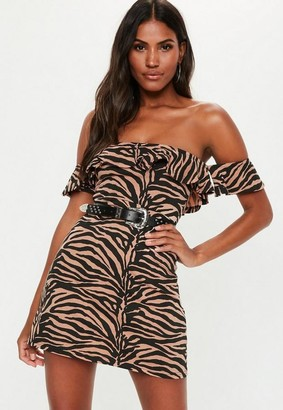 Missguided Rust Zebra Print Bardot Frill Skater Dress