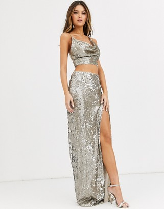 TFNC sequin maxi skirt with slit in silver and gold