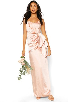 boohoo Bridesmaid Occasion Satin Pleated Maxi Dress