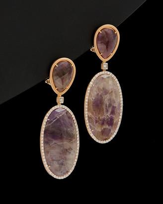 Italian Gold 14K Rose Gold 42.80 Ct. Tw. Diamond & Purple Amethyst Earrings