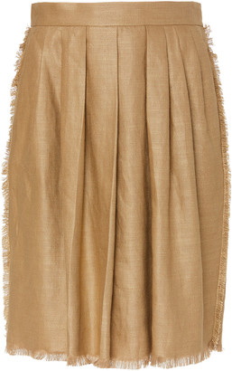 Max Mara Berma Pleated Fringe-Trimmed Linen-Silk Mini Skirt