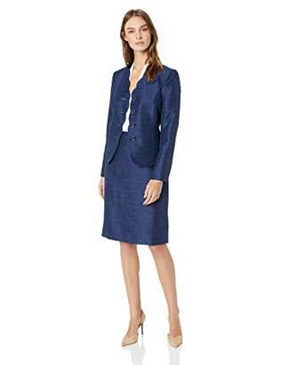 Le Suit Women's 4 Button Scalloped Detail Novelty Skirt Suit