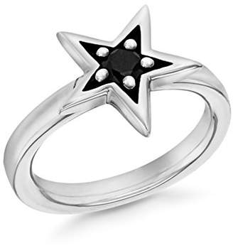 Tuscany Silver Women's Sterling Silver Rhodium Plated 5 mm Black Cubic Zirconia Claw Set Star Stacking Ring, Size P