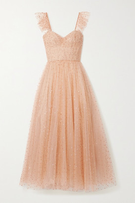Monique Lhuillier Ruffled Gathered Glittered Tulle Gown - Blush