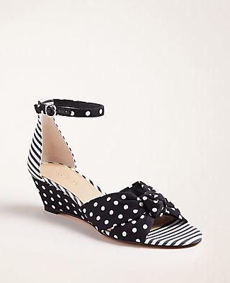 Ann Taylor Kaylin Polka Dot Knot Wedge Sandals