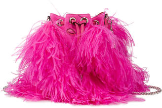 Christian Louboutin Marie Jane Suede Bucket Bag with Ostrich Feather Fringe