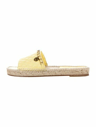 Chanel Interlocking CC Logo Leather Espadrilles Yellow