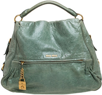 Miu Miu Green Leather Lily Distressed Shoulder Bag