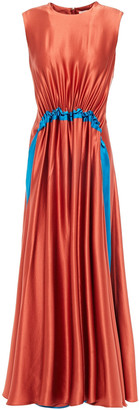 Roksanda Gathered Two-tone Silk-satin Midi Dress