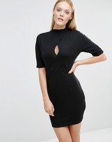 AX Paris Highneck Bodycon Dress With Keyhole