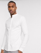 New Look grandad collar poplin shirt in white