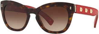 Valentino VA4037 Women's Studded Leather Frame Cat's Eye Sunglasses, Tortoise Red/Brown Gradient
