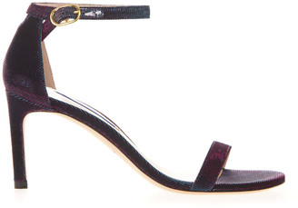 Stuart Weitzman Night Time Sandals In Metallic Purple Fabric