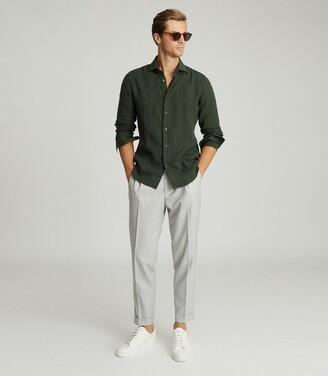 Reiss Ruban - Linen Regular Fit Shirt in Khaki