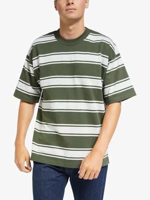 Garbstore Drop Out Shoulders Sports Stripe T-Shirt, Olive