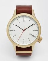 Komono Magnus Leather Strap Watch - Brown